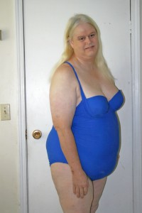Renee blue bathing suit crossdressing