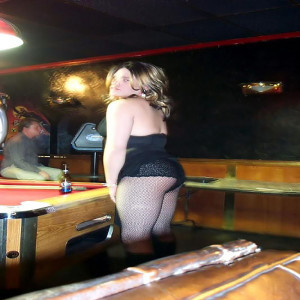 lexi crossdressing at the pool hall