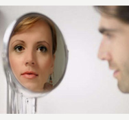 male to female transformation mirror photo