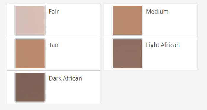 breast forms skin tones options